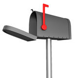 Mailbox. A black glossy mailbox against a white background, red flag up, concept of mail and communication stock illustration