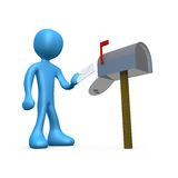 Mailbox. 3d person about to put a letter in a mailbox royalty free illustration