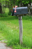 Mailbox. Rural mailbox on a old wooden post out on a country road stock images