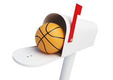 Mailbox Basketball ball on a white background 3D illustration Stock Photos