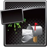 Mailbox on black halftone advertisement Stock Photo