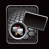 Mailbox on black hexagon advertisement Stock Images