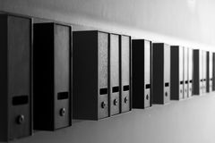 Mailbox black and white in depth of field alley Royalty Free Stock Photos