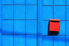 Mailbox on blue background. stock images