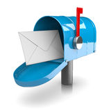 Mailbox. Blue Mailbox on White Background 3D Illustration royalty free illustration