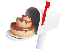 Mailbox cake on a white background 3D illustration Stock Images