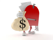 Mailbox character holding money bag Royalty Free Stock Images