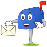Mailbox Character with Letter. A funny cartoon blue mailbox character holding a letter. Eps file available vector illustration