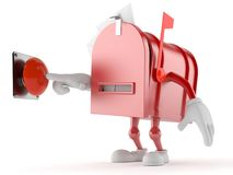 Mailbox character pushing button. On white background Stock Photography