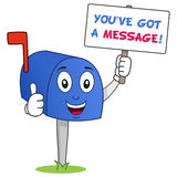 Mailbox Character You ve Got a Message. A cheerful cartoon blue mailbox character with thumbs up and holding a banner with the text you've got a message royalty free illustration