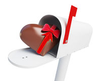 Mailbox Chocolate heart on a white background 3D illustration Stock Photos