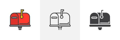 Mailbox closed, flag up icon vector illustration