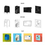 Mailbox, congratulatory card, postage stamp, envelope.Mail and postman set collection icons in black,flat,outline style. Vector symbol stock illustration Stock Images