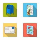 Mailbox, congratulatory card, postage stamp, envelope.Mail and postman set collection icons in flat style vector symbol Royalty Free Stock Photos