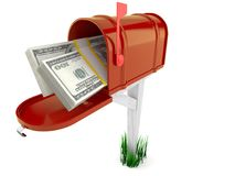 Mailbox with dollars. On white background Royalty Free Stock Image