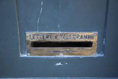 Mailbox on a door in Rome. Italy for lettere e telegrammi royalty free stock photography