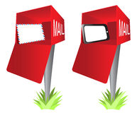 Mailbox with a Envelope and Tablet PC Pad Clip Art. A concept of sending and receiving messages through a tablet PC and the traditional envelope clip art Stock Photo