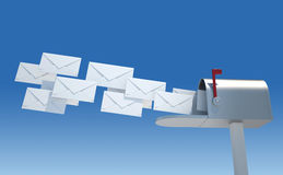 Mailbox and envelopes Royalty Free Stock Photography