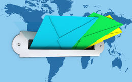 Mailbox and envelopes. One mailbox with three colored envelopes and a earth map on the background, concept of communication with every part of the world (3d Stock Photos