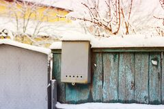 Mailbox on the fence. stock photography