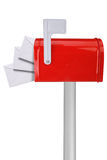 Mailbox with flag and envelopes Royalty Free Stock Images