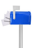Mailbox with flag and envelopes stock photo