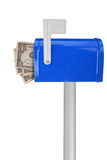 Mailbox with flag and money stock photos