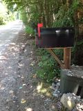 Mailbox flag up. A flag up on a rural mailbox Royalty Free Stock Photo