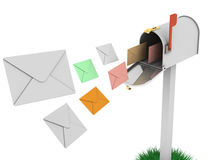 Mailbox with flying letters Stock Photos
