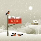 Mailbox on the forest edge stock illustration