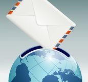 Mailbox in the form of planet earth royalty free illustration
