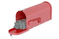 Mailbox full of dollars Stock Image