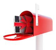 Mailbox gift phone 3d Illustrations. On a white background Stock Photo