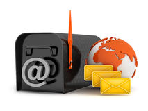 Mailbox, globe, envelopes and e-mail sign Royalty Free Stock Photos