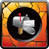 Mailbox on gold cracked web button Stock Photo