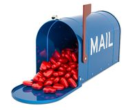 Mailbox with heap of red hearts. Valentine cards concept, 3D rendering. Isolated on white background vector illustration