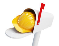 Mailbox helmet worker on a white background 3D illustration Stock Photography