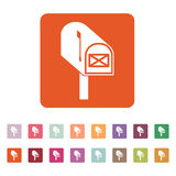 The mailbox icon. Mail, postal, post office symbol. Flat stock illustration