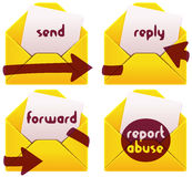 Mailbox icons. Usefull mailbox emblems: send reply forward report abuse vector illustration