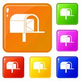 Mailbox icons set vector color. Mailbox icons set collection vector 6 color isolated on white background vector illustration
