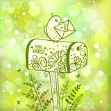 Mailbox. Illustration silhouette of mailbox with bird which holding a letter on green bokeh background vector illustration