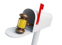 Mailbox law Gavel on a white background Stock Image