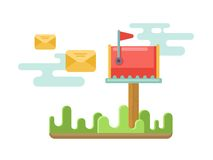 Mailbox at lawn with envelopes concept in flat Royalty Free Stock Images