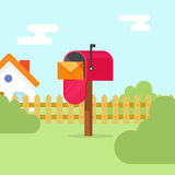 Mailbox with letter envelope and house landscape vector illustration. Open flat red mail box on summer scene, concept of mail delivery stock illustration