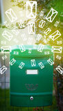 Mailbox with letter icons on glowing green background Royalty Free Stock Photography