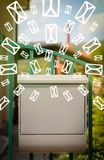 Mailbox with letter icons on glowing green background Royalty Free Stock Image