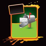 Mailbox with letter on orange splattered banner Stock Images
