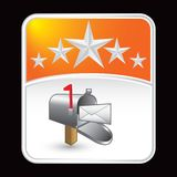 Mailbox with letter under orange star backdrop Stock Photos