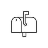Mailbox line icon, outline vector sign. Linear style pictogram isolated on white. Symbol, logo illustration. Editable stroke. Pixel perfect stock illustration