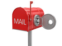 Mailbox and lock (clipping path included) Royalty Free Stock Photography